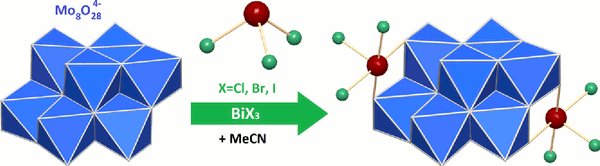 Polyoxomolybdate-supported bismuth trihalogenides [Mo8O26(BiX3)2]4− (X = Cl, Br, I): syntheses and study of polymorphism.